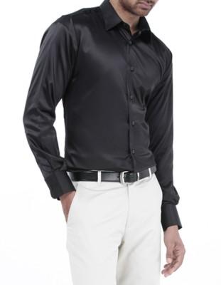 Genesis Men's Solid Casual Black Shirt