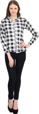 kellan Women's Checkered Lounge Wear White Shirt