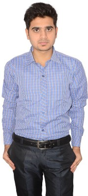Indocity Men's Checkered Formal Blue, Yellow Shirt