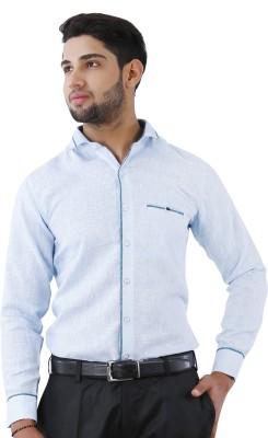 Crocks Club Men's Self Design Casual Blue Shirt
