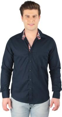 Zoro Auge Men's Solid Casual Linen Blue Shirt