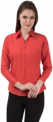Apoyo Women's Solid Formal Orange Shirt