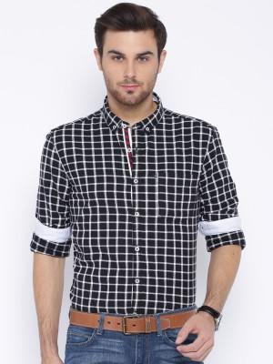 Harvard Men's Checkered Casual Black Shirt