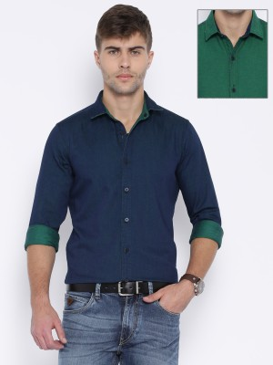 Harvard Men,s Solid Casual Reversible Green Shirt