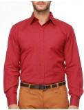 Alnik Men's Solid Formal Maroon Shirt