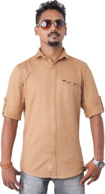 Passion Men's Solid Casual Brown Shirt
