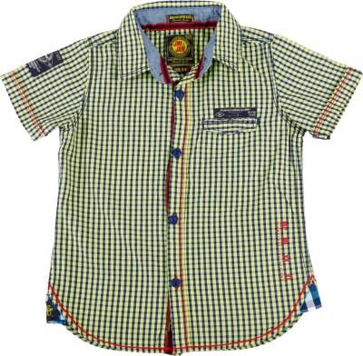 Jim & Jam Boy's Checkered Casual Yellow Shirt