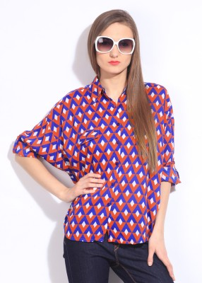 Remanika Women,s Geometric Print Casual White, Blue, Pink Shirt