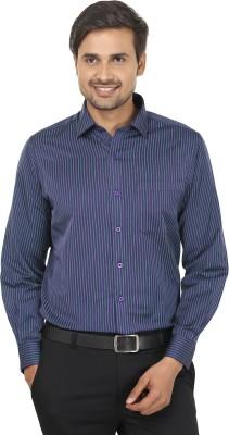 John Players Men's Striped Formal Purple, Green Shirt