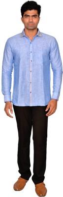 DoubleF Men's Solid Casual Blue Shirt