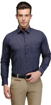 Hancock Men's Printed Casual Dark Blue, Blue Shirt