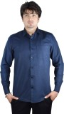 Kartier Men's Solid Casual Blue Shirt