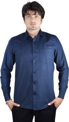 Kartier Men's Solid Casual Blue Shirt