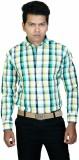 Cairon Men's Checkered Casual Green Shir...