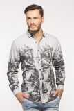 Royalion Men's Printed Casual Grey Shirt