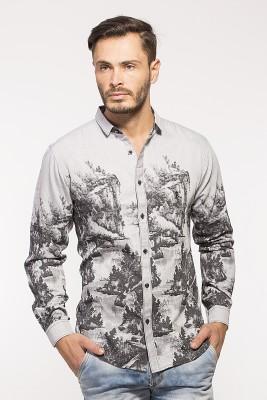 ROYALION Men's Printed Casual Grey Shirt