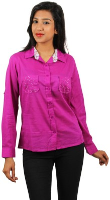 Old Khaki Women's Solid Casual Purple Shirt