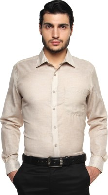 British Club Men's Solid Formal Beige Shirt