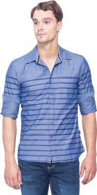 IDENTITI Men's Striped Casual Blue Shirt
