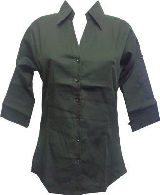 fashion point Women's Solid Formal Dark Green Shirt