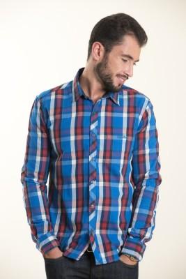 Kart & Kriss Men's Checkered Casual Blue, Red Shirt