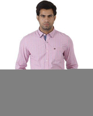 London Fog Men's Striped Formal Pink, Blue Shirt