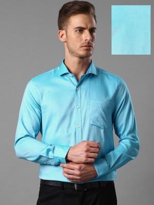 Invictus Men's Solid Formal Blue Shirt