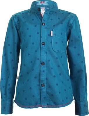 Ice Boys Boy's Printed Casual Blue Shirt