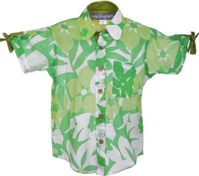Lil Poppets Baby Boy's Floral Print Casual Light Green Shirt