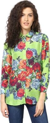 Love From India Women's Floral Print Casual Green Shirt