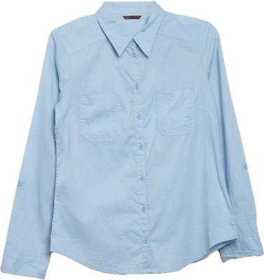 Marks & Spencer Women's Solid Casual Blue Shirt