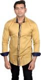 Lomhara Men's Solid Formal Brown Shirt