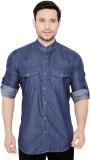 GlobalRang Men's Solid Casual Denim Blue...