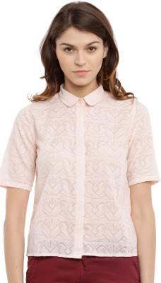 Chumbak Women's Printed Casual Pink Shirt