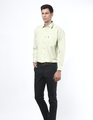 Remo Men's Striped Formal Green Shirt