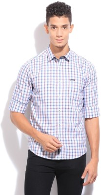 Pepe Jeans Men's Checkered Casual White, Blue Shirt