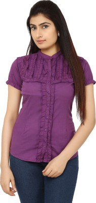 TeeMoods Womens Solid Casual Purple Shirt