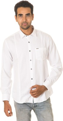 West Vogue Men's Solid Casual White Shirt