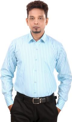 Bellavita Men,s Striped Formal Light Blue Shirt