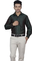 Jpeters Formal Shirts (Men's) - Jpeters Men's Solid Formal Dark Green Shirt