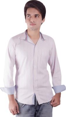Elle Et Lui Men's Striped Formal White, Pink Shirt