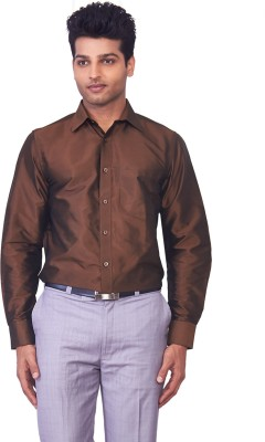 Mark Anderson Men's Solid Casual Brown Shirt