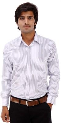 Elite Formals Men's Striped Formal White Shirt
