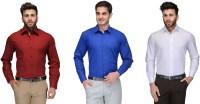 Allen Formal Shirts (Men's) - Allen Men's Solid Formal Red, Blue, White Shirt(Pack of 3)