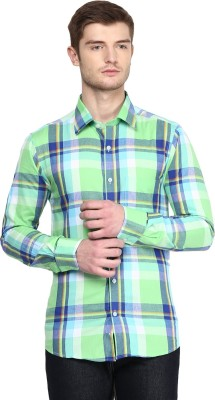 American Crew Men's Striped Casual Green Shirt