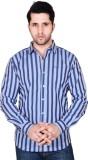 Denimize Men's Striped Casual Grey Shirt