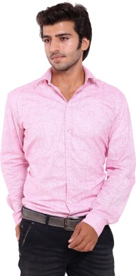 Deeksha Men's Solid Casual Pink Shirt