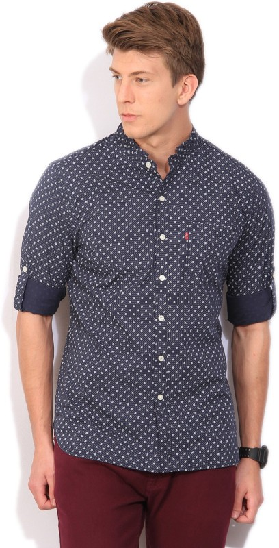 Levi's Men's Printed Casual Beige Shirt