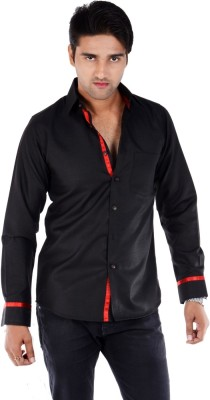 S9 Men's Solid Casual Black, Red Shirt
