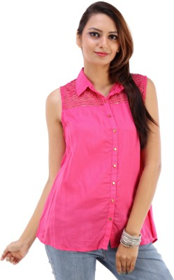 Urban Religion Women's Solid Casual Pink Shirt